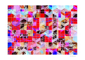 geometric square pattern abstract in red