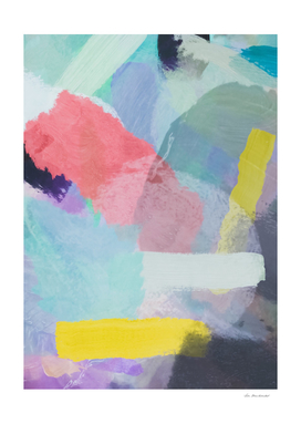 brush painting texture abstract in blue pink yellow green