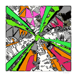 splash geometric abstract in pink green orange