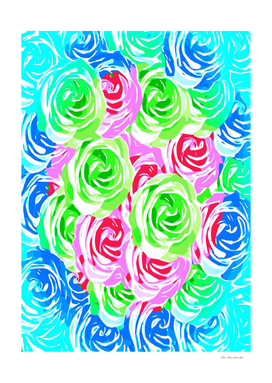 rose texture pattern abstract in blue pink green