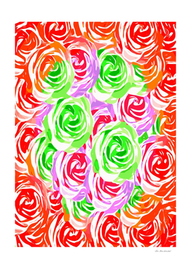 colorful rose pattern abstract