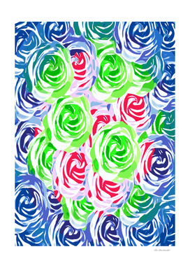 rose texture pattern abstract in blue red green