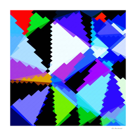 geometric triangle and square pattern in blue