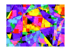 geometric triangle abstract in purple blue pink yellow