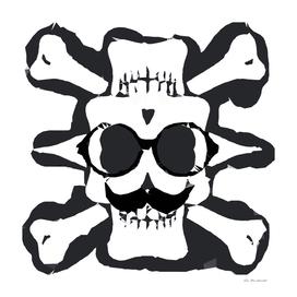 old funny skull art portrait in black and white