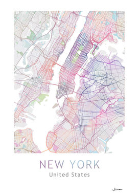 New York City Map Multicolor