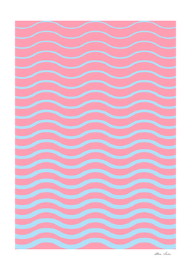 Waves pattern, Summer, light blue and light pink version