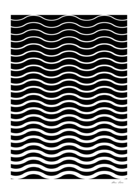 Waves, black and white geometric pattern