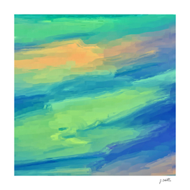 Green blue abstract painting
