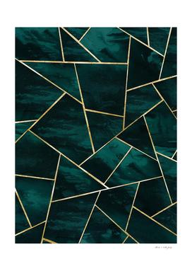 Dark Teal Ink Gold Geometric Glam #1 #geo #decor #art