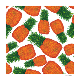 Bright juicy pineapple seamless pattern. Tropical fruit
