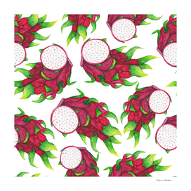 Bright juicy pitaya seamless pattern. Tropical fruit