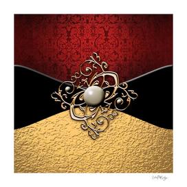 Red Damask Gold Metallic & Jewel