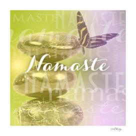 Namaste Meditation Stones & Butterfly Typography