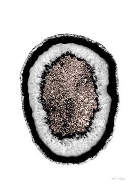 Gray Black White Agate with Rose Gold Glitter #5 #gem #decor