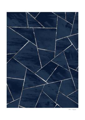 Midnight Navy Blue Ink Silver Geometric Glam #1 #geo #decor