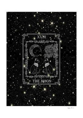 "Tarot ""The Moon"" - silver - cat version"