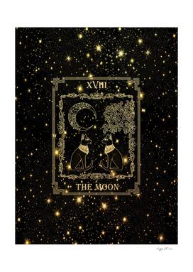 "Tarot ""The Moon"" - gold - cat version"