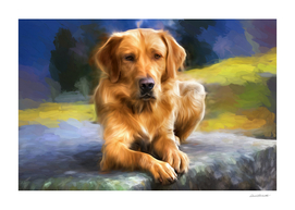 Painting of a Golden Retriever