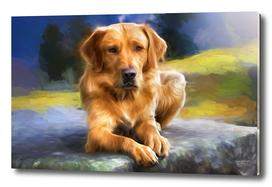 Painting of a Golden Retriever