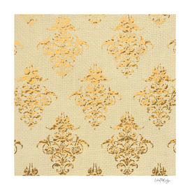 Gold Metallic Damask & Beige Background