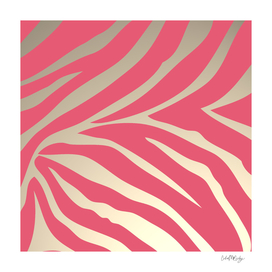 Pink Zebra Stripes Beige Background
