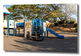 Colorful children outdoor playground in the park