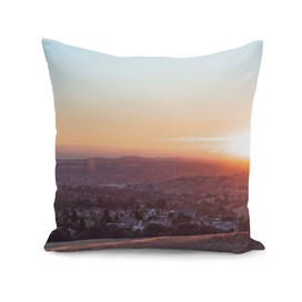 Urban city horizon panorama sunset