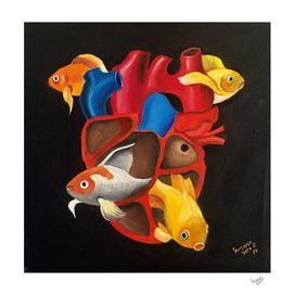 Corazon con 4 peces