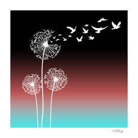 Dandelions Blow Into Birds Black Pink Teal