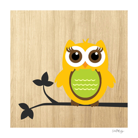 Owl on Branch Wooden Background
