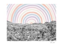 Happy Rainbow Rays // Scenic Desert Watercolor Collage