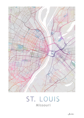St. Louis City Map in Colors
