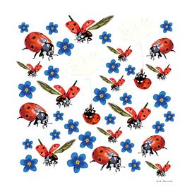 Ladybugs & Blue Flowers
