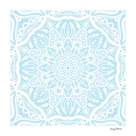 Pastel Blue and White Mandala