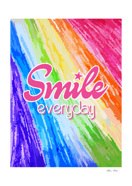 Smile Everyday, colorful crayon, kids draw, pink version