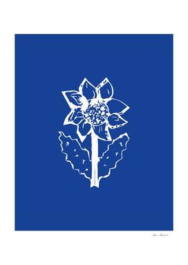 Sunflower navy blue white