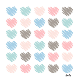 Sketched artistic hearts in soft colors