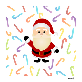 Christmas Santa Claus with colorful candy cane