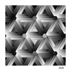Hexagon kaleidoscope optical illusion forming triangles