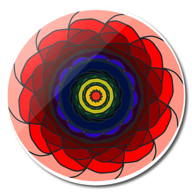Bright colors in circular intriguing pattern
