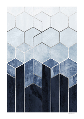 Soft Blue Hexagons - Silver