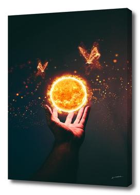 Sun above hand.