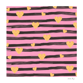 PINK STRIPES HEART PATTERN