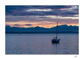 Moored Sailboat Sunset