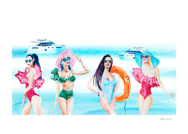 Fashion models in swimsuits watercolor.