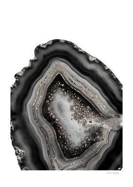 Black Night Agate Glam with Gold Glitter #1 #gem #decor #art