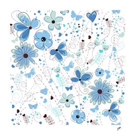 Abstract blue flowers hand drawn elegant pattern