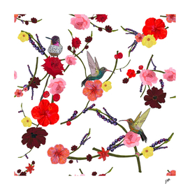 Birds with hibiscus and roses pattern white background