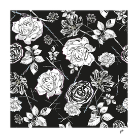 Black white peony, roses and cosmos flowers elegant